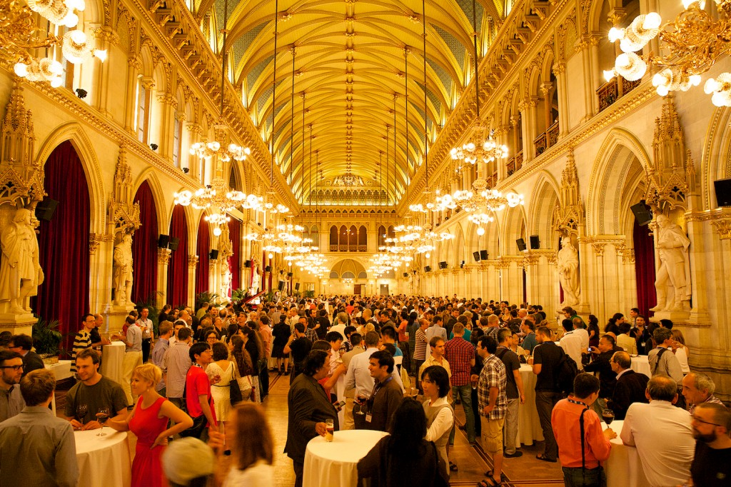 "1000+ logicians gathering at Vienna's town hall for the Mayor's reception. According to Moshe Vardi ""the highest concentration of brain power in Vienna since Gödel lived here."""